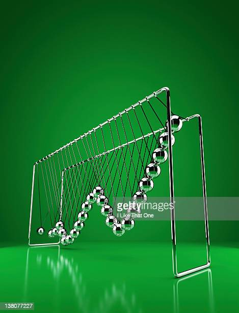 Newtons Cradle with growth graph chart depicted
