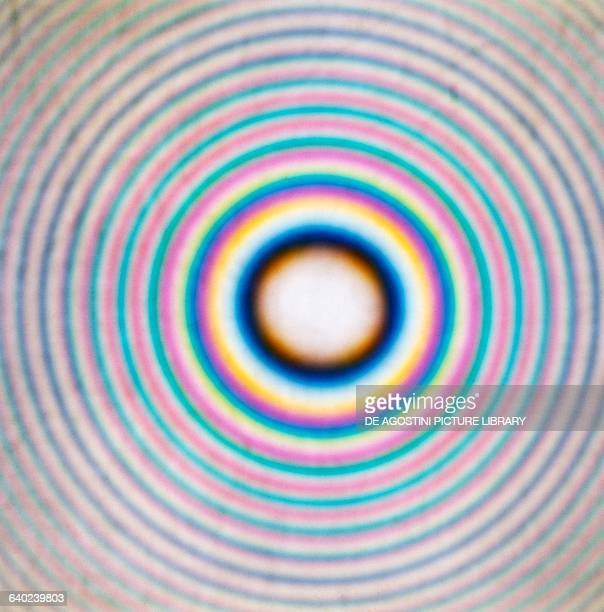 Newton's rings constructive interference created by light rays reflecting off two surfaces