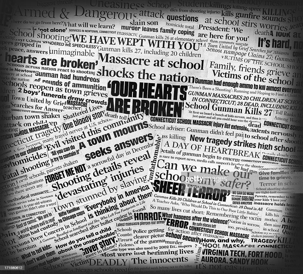 Newtown School Massacre Newspaper Collage Stock Photo