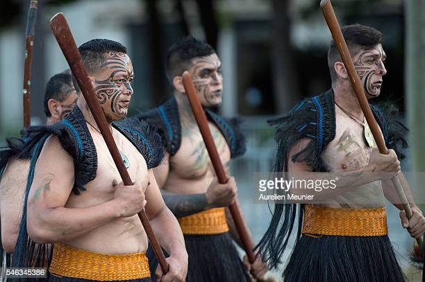 NewZealand Defence Force Maori soldiers rehearse for the French day parade on the July 14 on the Avenue des ChampsElysees on July 12 2016 in Paris...