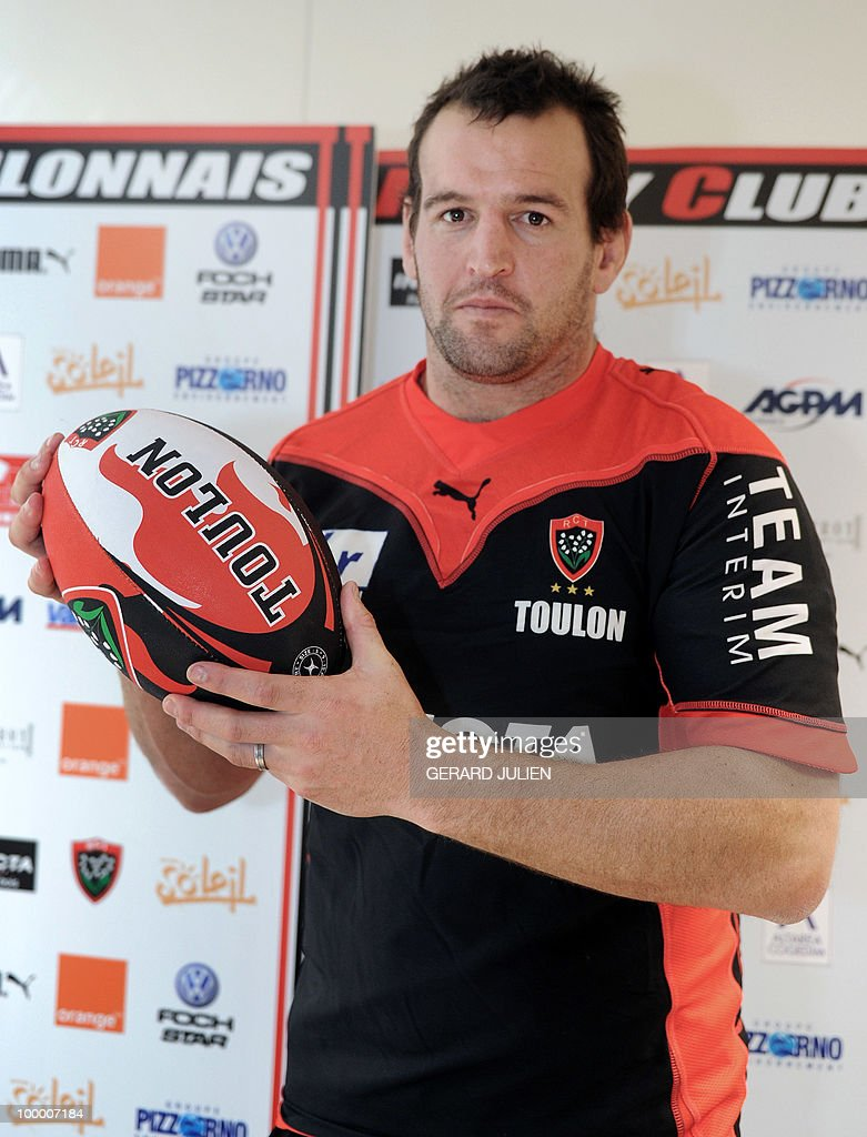 New-Zealand rugby union national team prop Carl Hayman poses with his Toulon new jersey on May 19, 2010, southern France. Hayman is to leave Newcastle at the end of the season to join Jonny Wilkinson, the England fly-half in the French Club of Toulon.