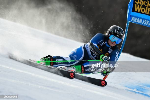 NewZealand's Alice Robinson competes during the firstrun of the FIS Alpine Skiing World Cup giant slalom in Kranjska Gora on February 15 2020