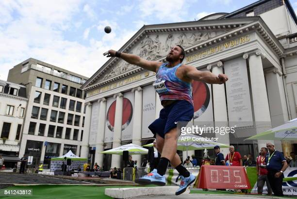 NewZealand's atlete Tomas Walsh competes during the shot put event of the Memorial Van Damme athletics event at the Place de la Monnaie Muntplein...