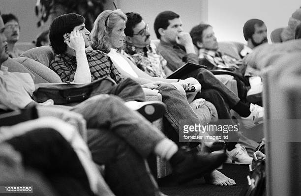 NeXT CEO Steve Jobs listening to a presentation with bare feet at an offsite retreat in June 1988 held at the Chaminade Resort in Santa Cruz CA