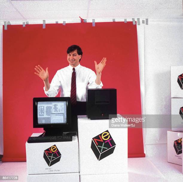 NeXT CEO Steve Jobs with the NeXT computer in 1988. IMAGE PREVIOUSLY A PART OF THE TIME & LIFE COLLECTION.