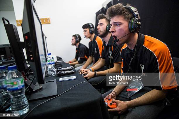 Next Gaming Rapid from Italy takes part in a qualifying match at the 2015 Call of Duty European Championships at The Royal Opera House on March 1...