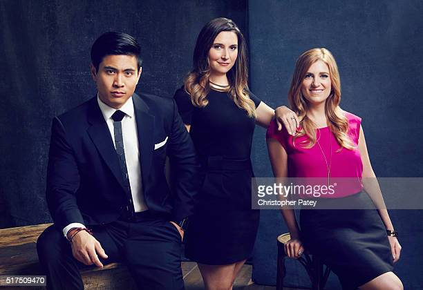 UpandComing Execs 35 and Under from left Bing Chen Chief Creative Officer Victorious Sabrina Caluori Senior VP Digital Media and Marketing HBO and...