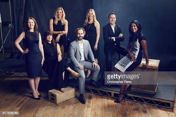 UpandComing Execs 35 and Under from left Brianna Bennett VP Drama Development CBS Television Studios Sarah Babineau VP Original Programming and...