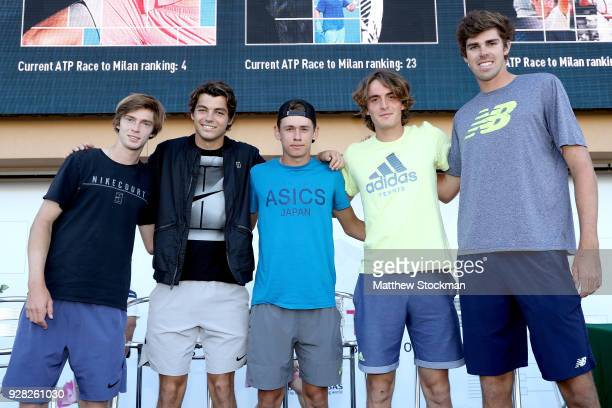 Next Gen players Andrey Rublev of Russia Taylor Fritz Alex De Minaur of Australia Stefanos Tsitsipas of Greece and Reilly Opelka pose for...