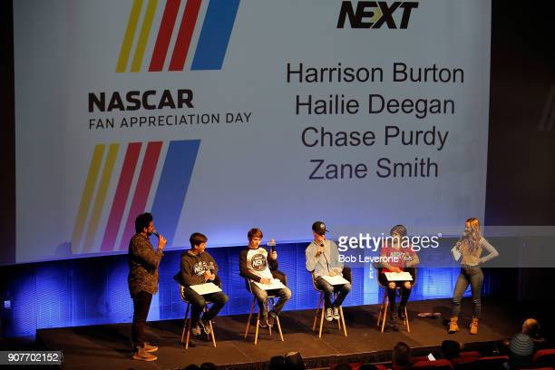 Next NASCAR drivers Harrison Burton Chase Purdy Zane Smith and Hailie Deegan answer questions from fans during a question and answer session at the...