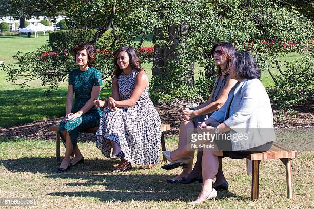 Next to the White House Kitchen Garden on the South Lawn in Washington DC USA on October 18 2016 Mrs Agnese Landini First Lady Michelle Obama and...
