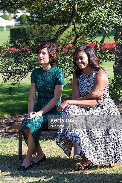 Next to the White House Kitchen Garden on the South Lawn in Washington, DC, USA, on October 18, 2016., , Mrs. Agnese Landini, and First Lady Michelle...