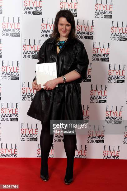 Next Young Designer Award winner Holly Fulton poses in the Winner's room at the ELLE Style Awards 2010 at the Grand Connaught Rooms on February 22,...