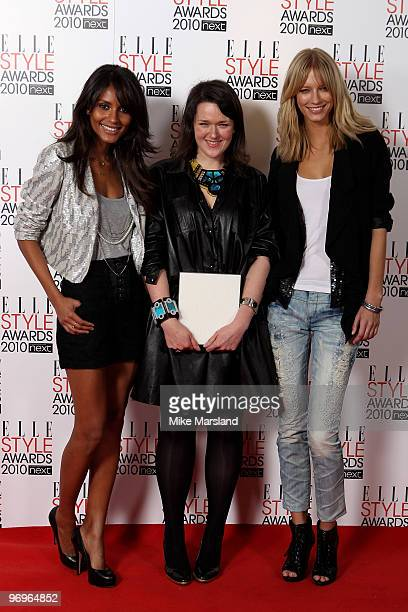 Next Young Designer Award winner Holly Fulton poses with the Next Models in the Winner's room at the ELLE Style Awards 2010 at the Grand Connaught...
