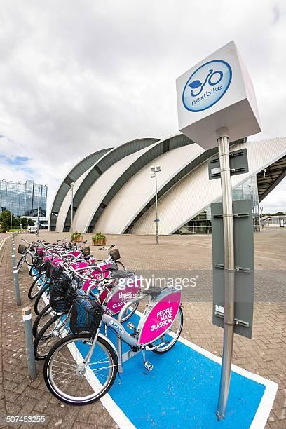 nextbike noleggio biciclette, glasgow - theasis foto e immagini stock