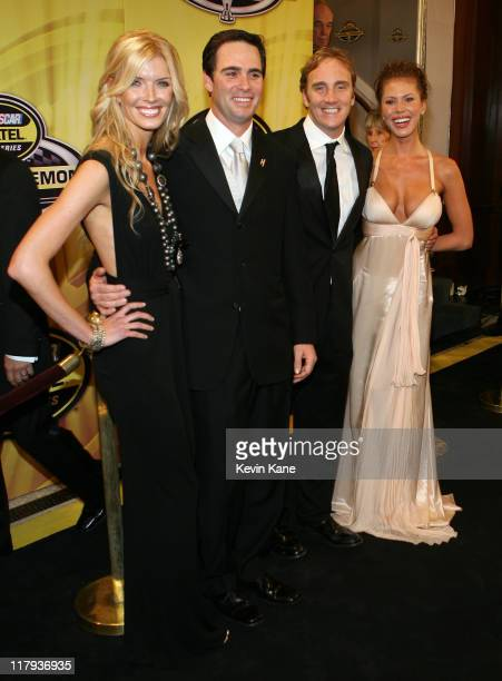 Nextel Cup Champion Jimmie Johnson with his wife Chandra pose with Actor Jay Mohr and Actress Nikki Cox during arrivals for the 2006 NASCAR nextel...