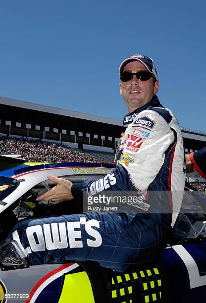 Nextel Cup points leader Jimmie Johnson, driver of the Lowes Chevrolet, during qualifying for the NASCAR Nextel Cup Series Pennsylvania 500 on July...
