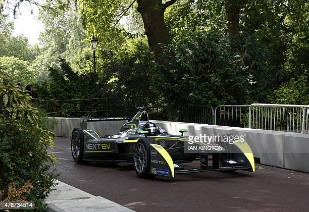 Nextev TCRs British driver Oliver Turvey drives during non qualifying practice during the 2015 FIA Formula E London ePrix championship at Battersea...