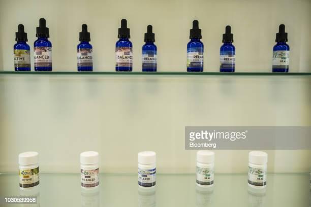 NextGen Pharma medicinal marijuana products sit on display at the Be Well dispensary in Guaynabo Puerto Rico on Thursday July 19 2018 As Puerto Rico...