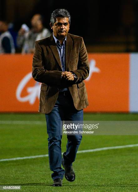 Ney Franco coach of Vitoria in action during the match between Santos and Vitoria for the Brazilian Series A 2014 at Pacaembu stadium on September 6...