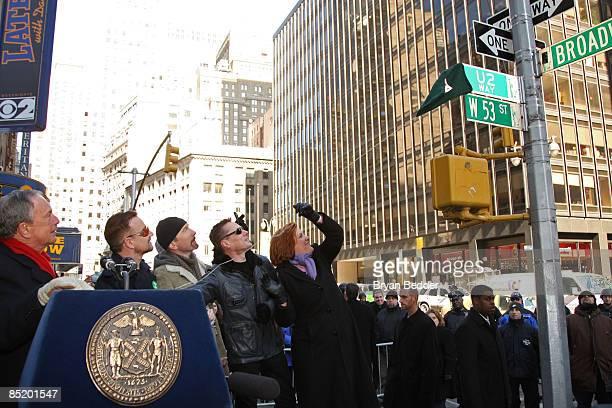 Ney York City Mayor Michael Bloomberg musicians Adam Clayton Bono The Edge Larry Mullen jr of the band U2 and New York City Council Speaker Christine...