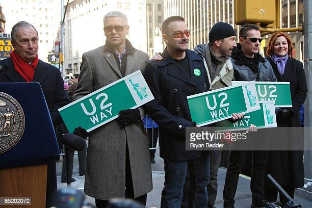 Ney York City Mayor Michael Bloomberg musicians Adam Clayton Bono The Edge Larry Mullen jr of the band U2 and New York City Council Speaker Christine...