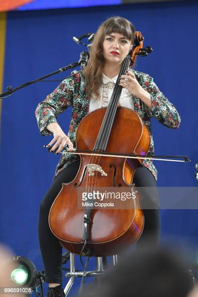 """Neyla Pekarek of The Lumineers performs on ABC's """"Good Morning America"""" at Rumsey Playfield, Central Park on June 16, 2017 in New York City."""