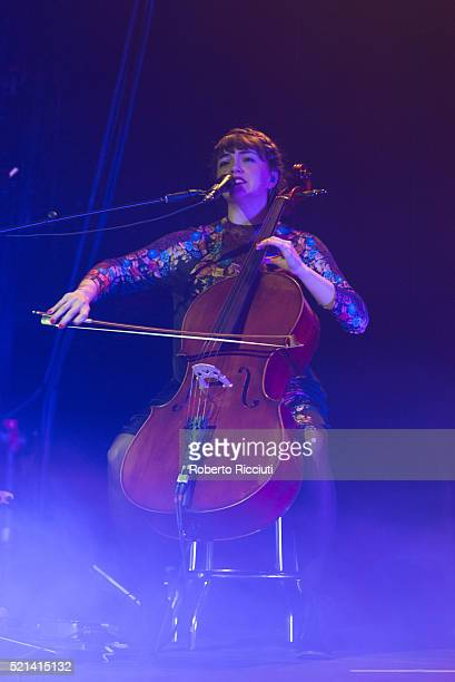 Neyla Pekarek of The Lumineers performs on stage at Barrowlands Ballroom on April 15, 2016 in Glasgow, Scotland.