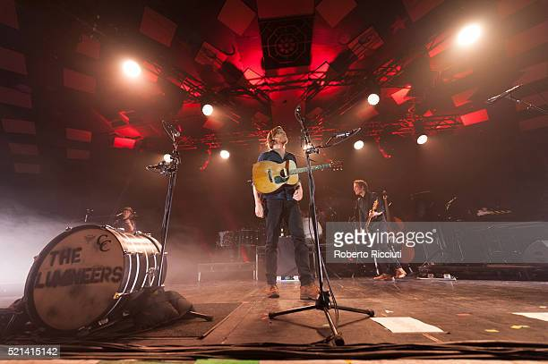 Neyla Pekarek, Wesley Keith Schultz and Byron Isaacs of The Lumineers perform on stage at Barrowlands Ballroom on April 15, 2016 in Glasgow, Scotland.
