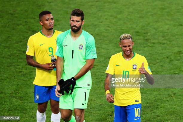 Neymar Alisson Becker and Gabriel Jesus of Brazil look on after victory in the 2018 FIFA World Cup Russia group E match between Serbia and Brazil at...