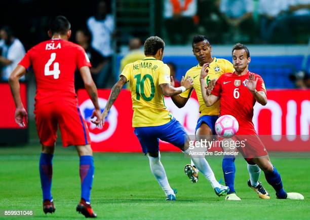 Neymar and Alex Sandro of Brasil and Fuenzalida of Chile in action during the match between Brazil and Chile for the 2018 FIFA World Cup Russia...