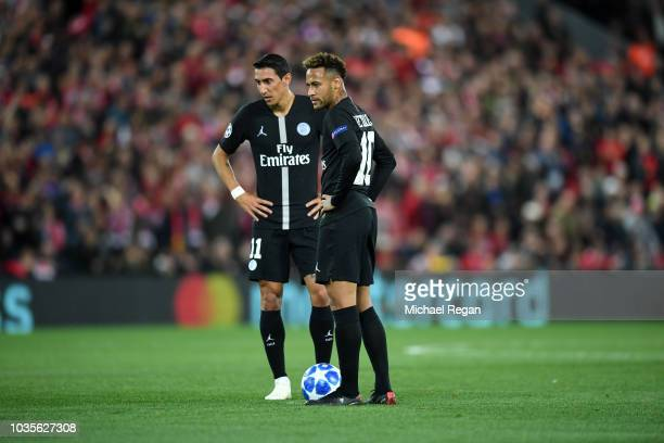 Neymar and Angel Di Maria of Paris SaintGermain prepare to kickoff after conceding the first goal during the Group C match of the UEFA Champions...