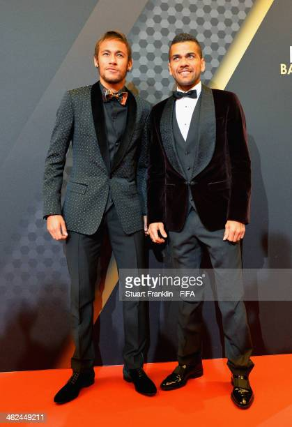 Neymar and Dani Alves of Barcelona arrive during the FIFA Ballon d'Or Gala 2013 at the Kongresshaus on January 13 2014 in Zurich Switzerland