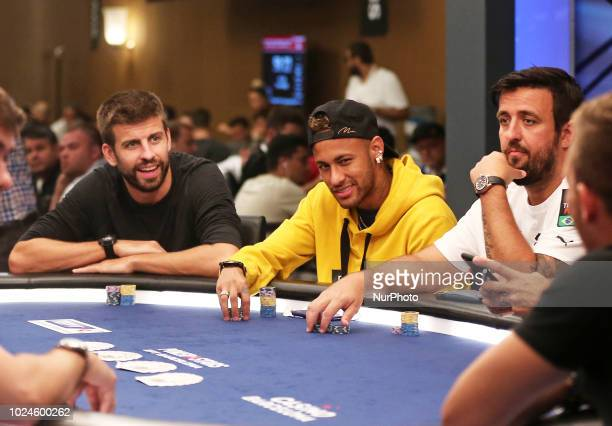 Neymar and Gerard Pique in the Pokerstars poker tournament at the Casino de Barcelona on 27th August in Barcelona Spain Photo Joan...