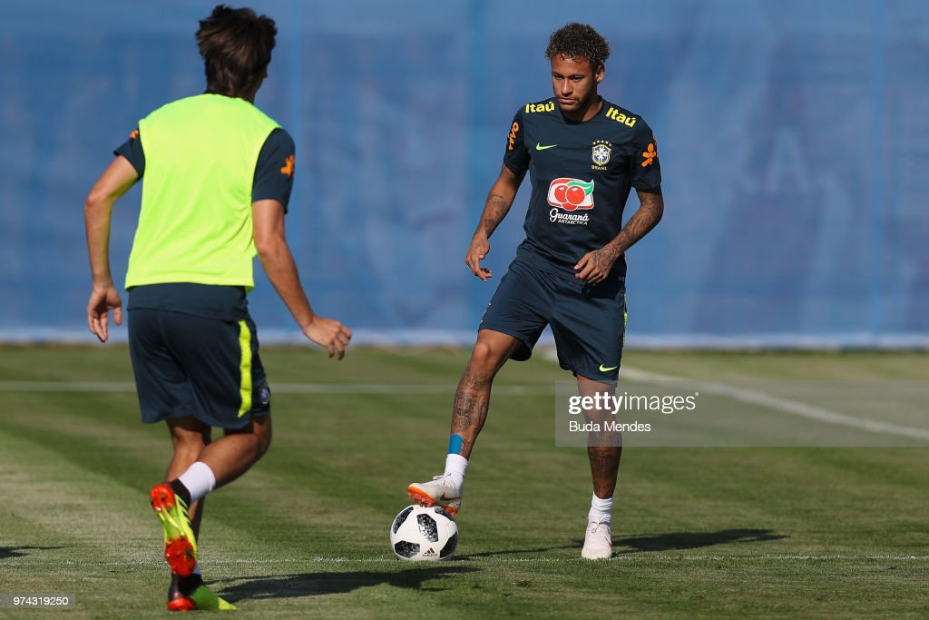 Neymar (R) and Geromel in action during a Brazil training session ahead of the FIFA World Cup 2018 at Yug-Sport Stadium on June 14, 2018 in Sochi, Russia.