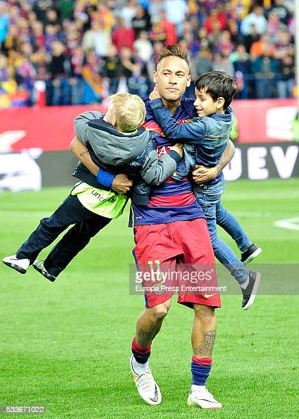 Neymar and his son Davi Lucca da Silva Santos attend the Copa del Rey match - FC Barcelona vs Sevilla FC at Vicente Calderon Stadium on May 22, 2016...