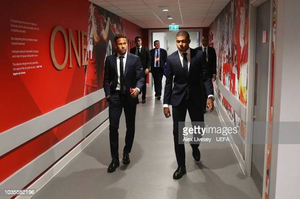 Neymar and Kylian Mbappe of Paris SaintGermain arrive for the Group C match of the UEFA Champions League between Liverpool and Paris SaintGermain at...