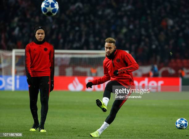 Neymar and Kylian Mbappe of Paris SaintGermain warms up prior to the UEFA Champions League Group C match between Red Star Belgrade and Paris...