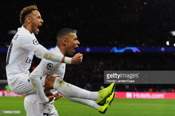 Neymar and Kylian Mbappe of PSG celebrate during the Group C match of the UEFA Champions League between Paris SaintGermain and Liverpool at Parc des...