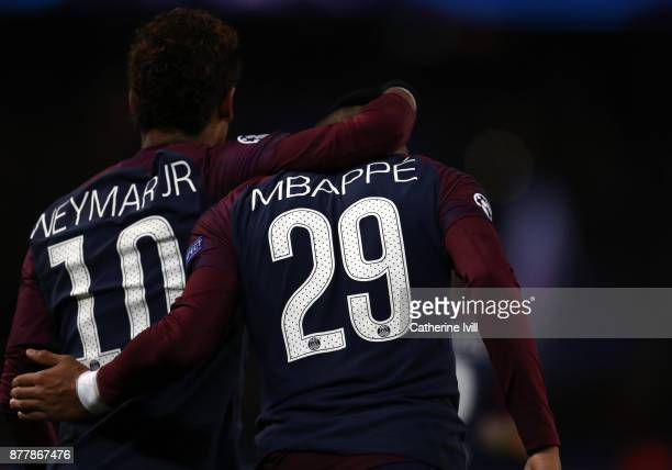 Neymar and Kylian Mbappe of PSG during the UEFA Champions League group B match between Paris SaintGermain and Celtic FC at Parc des Princes on...