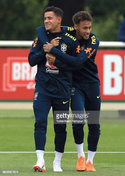 Neymar and Philippe Coutinho of Brazil during a Brazil Training Session at Tottenham Hotspur Training Centre on May 29 2018 in Enfield England
