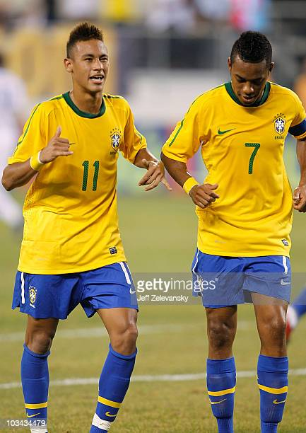 Neymar and Robinho of Brazil celebrate Neymar's goal against the U.S. In the first half of a friendly match at the New Meadowlands on August 10, 2010...