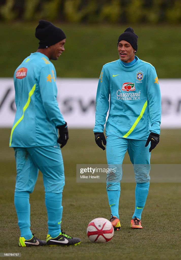 Neymar (R) and Ronaldinho of Brazil in action during a Brazil training session at The Hive football centre on February 5, 2013 in London, England.