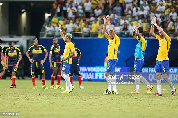 Neymar and teammates of Brazil greet fans after a match between Brazil and Colombia as part of FIFA 2018 World Cup Qualifiers at Arena Amazonia...