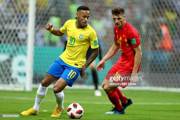 Neymar and Thomas Meunier pictured in action during the 2018 FIFA World Cup Russia Quarter Final match between Brazil and Belgium at Kazan Arena on...