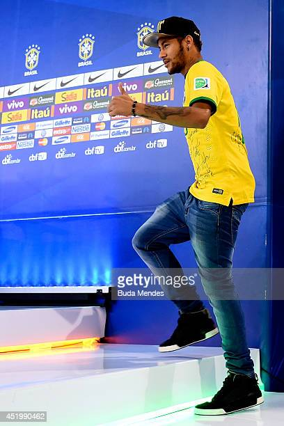 Neymar attends a press conference on July 10 2014 in Teresopolis Brazil