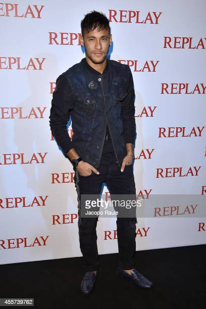 Neymar attends Replay Store Preview during Milan Fashion Week Womenswear Spring/Summer 2015 on September 19 2014 in Milan Italy