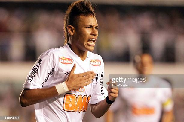 Neymar celebrates, from Santos FC, his goal during the game against Colo Colo as part of the Santander Libertadores Cup 2011 in Vila Belmiro Stadium...