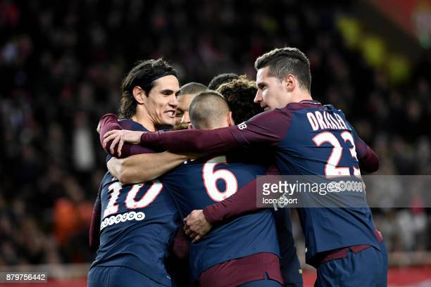 Neymar celebrates his goal with teammates Edinson CAVANI and Marco VERRATTI and Adrien RABIOT and Julian DRAXLER of PSG during the Ligue 1 match...