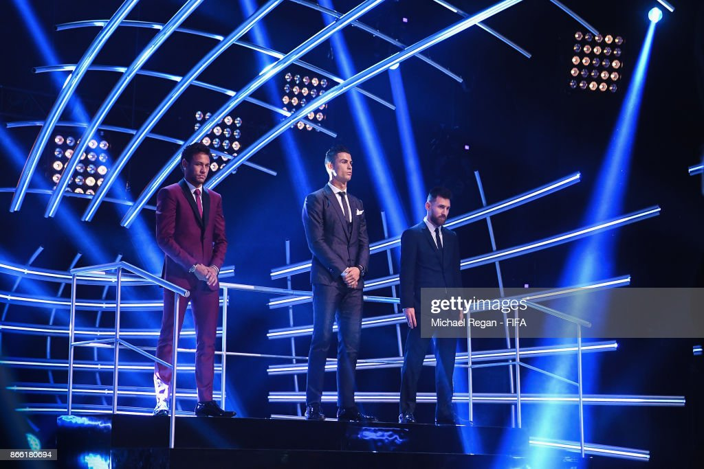 Neymar, Cristiano Ronaldo and Lionel Messi pose during The Best FIFA Football Awards at The May Fair Hotel on October 23, 2017 in London, England.